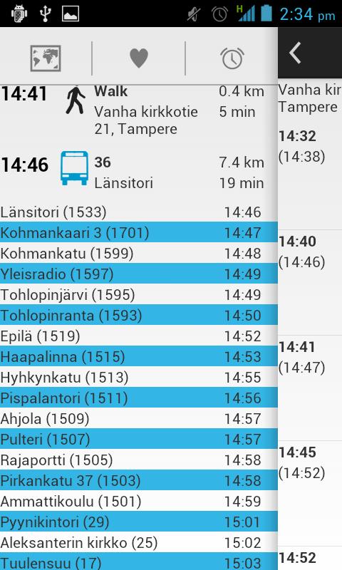 Bussit Tampere Reittiopas - screenshot