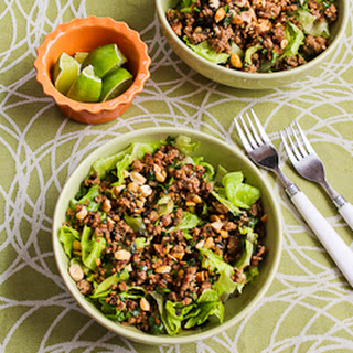 Thai-Inspired Ground Turkey Larb Salad with Sriracha, Mint, Cilantro, and Peanuts