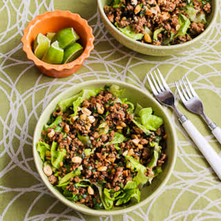 Thai-Inspired Ground Turkey Larb Salad with Sriracha, Mint, Cilantro, and Peanuts.
