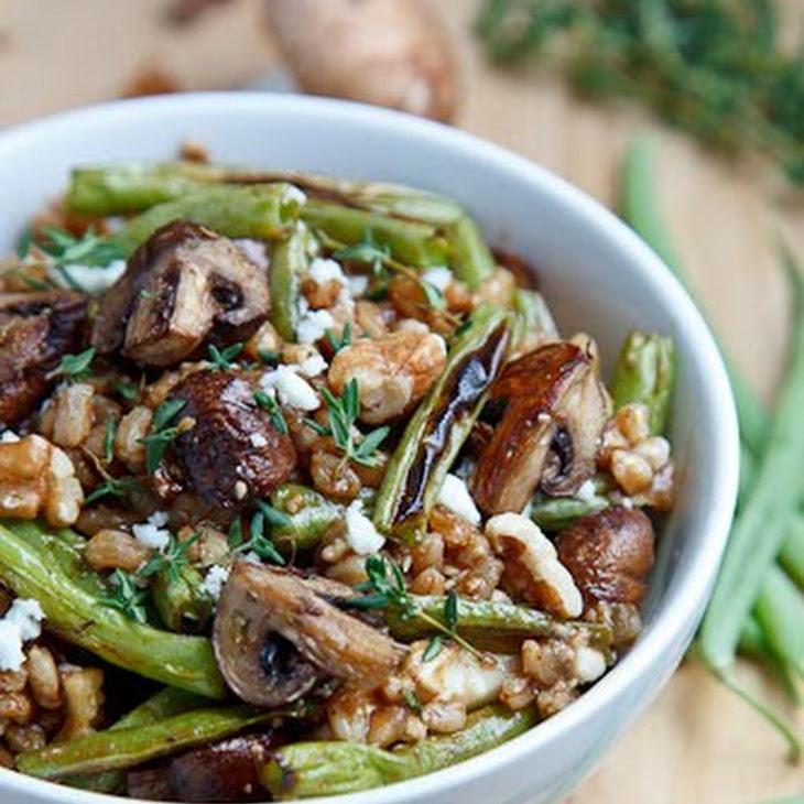 Roasted Mushroom and Green Bean Farro Salad Recipe