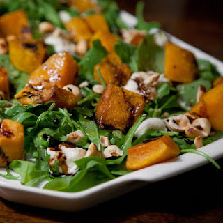 Roasted Squash with Burrata, Hazelnuts and Arugula.