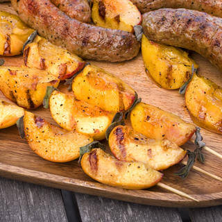 Grilled Chicken Sausages with Peach-Sage Skewers.