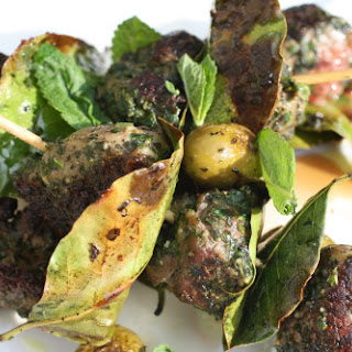 Pistoued Lamb Brochettes with Bay Leaves and Seared Olives Recipe