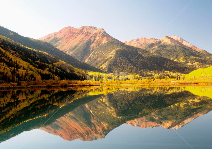 Crystal Lake by Alex Cassels - Landscapes Waterscapes ( water, nature, san juan mountains, ouray, colorado, reflections, crystal lake, aspens, red mountain, landscape, alex cassels, united states )