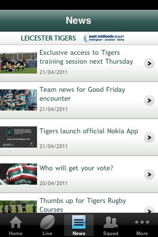 Official Leicester Tigers - screenshot