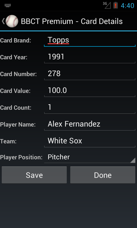 Baseball Card Tracker Premium- screenshot