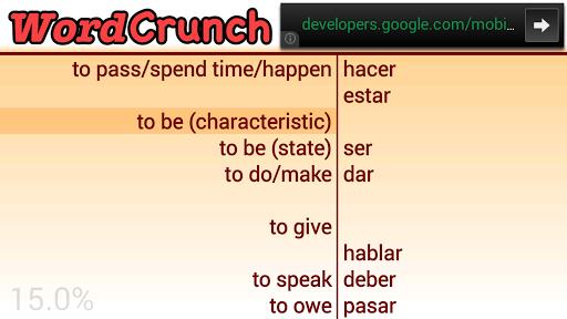 WordCrunch EN-ES Top 100 verbs