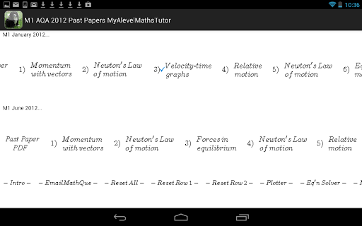 M1 Maths AQA 2012 PP Revision