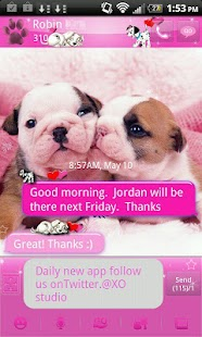 GO SMS Pro Pink Puppy theme