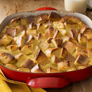 White Chocolate Bread Pudding with White Chocolate Sauce