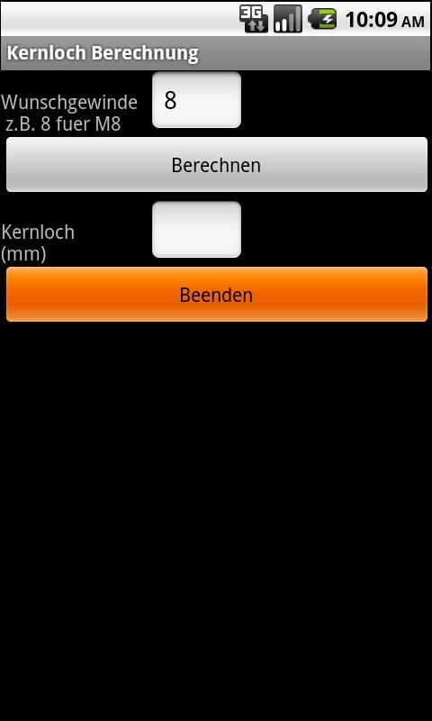 Kernloch Berechnung - screenshot