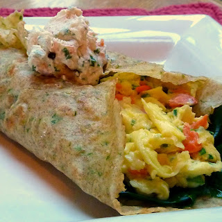 Smoked Salmon and Cream Cheese Scramble Tucked in an Herb Crepe Blanket for Ina.