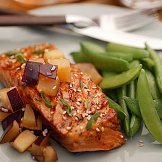 Grilled Salmon with Hoisin Glaze and Plum-Ginger Relish.