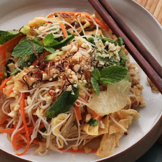 Vietnamese Citrus and Noodle Salad With Fresh Herbs and Fried Yuba (Tofu Skin)