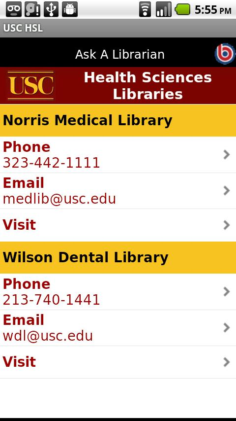 USC Health Sciences Libraries - screenshot