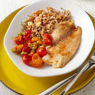 Tilapia with Tomato-Olive Sauce.