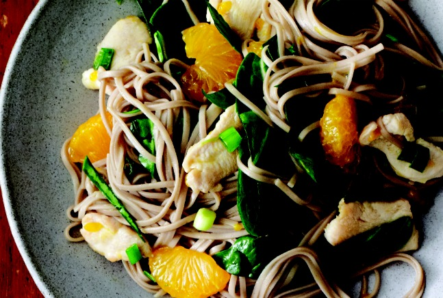 Cool Soba with Citrus Chicken and Spinach Recipe