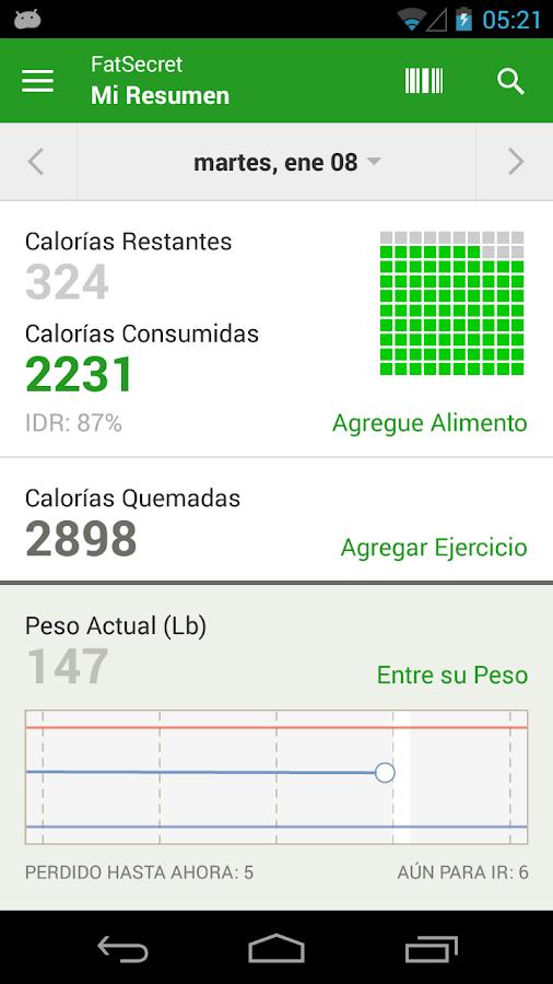 Contador de Calorías FatSecret - screenshot