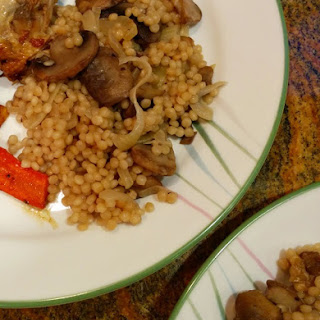 Israeli Couscous with Mushrooms and Onions.