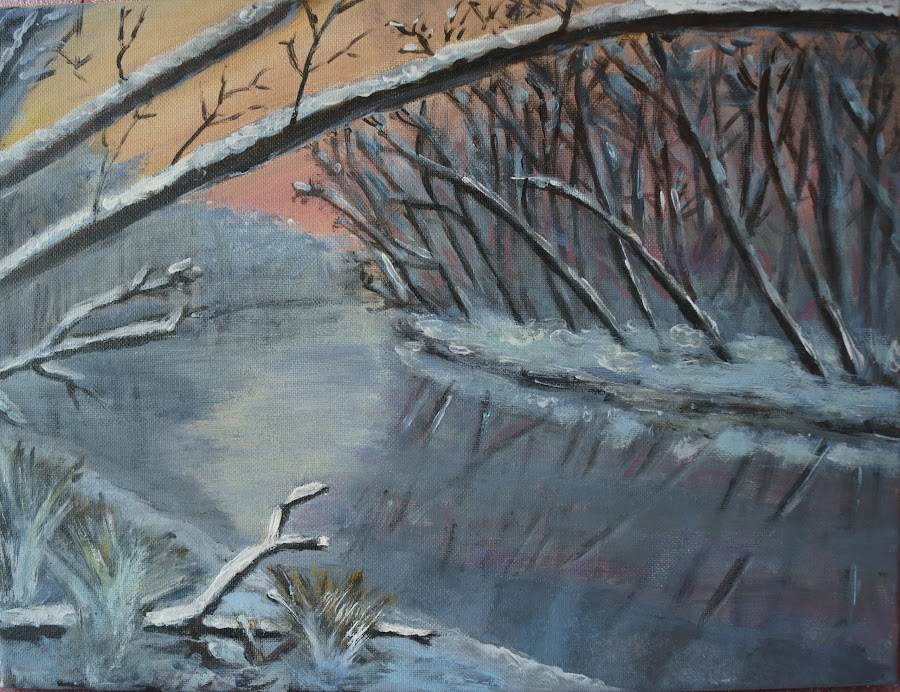 Winter in Biesbosch by Michel Van Kooten - Painting All Painting ( willows, osier, winter, cold, dordrecht, biesbosch, holland, netherlands )