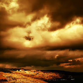 House on the coast by Gabriela Ivanova - Landscapes Weather ( clouds, red rock, sea, weather, house )