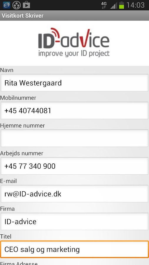 NFC Visitkort- skriver Vcard- screenshot