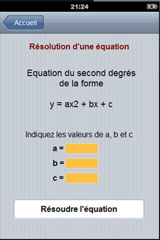 Equation du second degré - screenshot