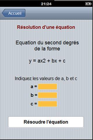 Equation du second degré - screenshot