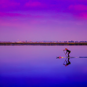 Reflecting on the river by Gerard Toney - Landscapes Waterscapes ( reflection, estuary, paddleboard, still water, river,  )
