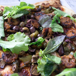 """BBQ Pizza with """"Sausage"""" and Greens"""
