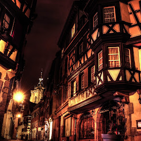 HDR à Colmar 2 by Pierre Husson - City,  Street & Park  Historic Districts ( old street, hdr, night scene, france, alsace, colmar )