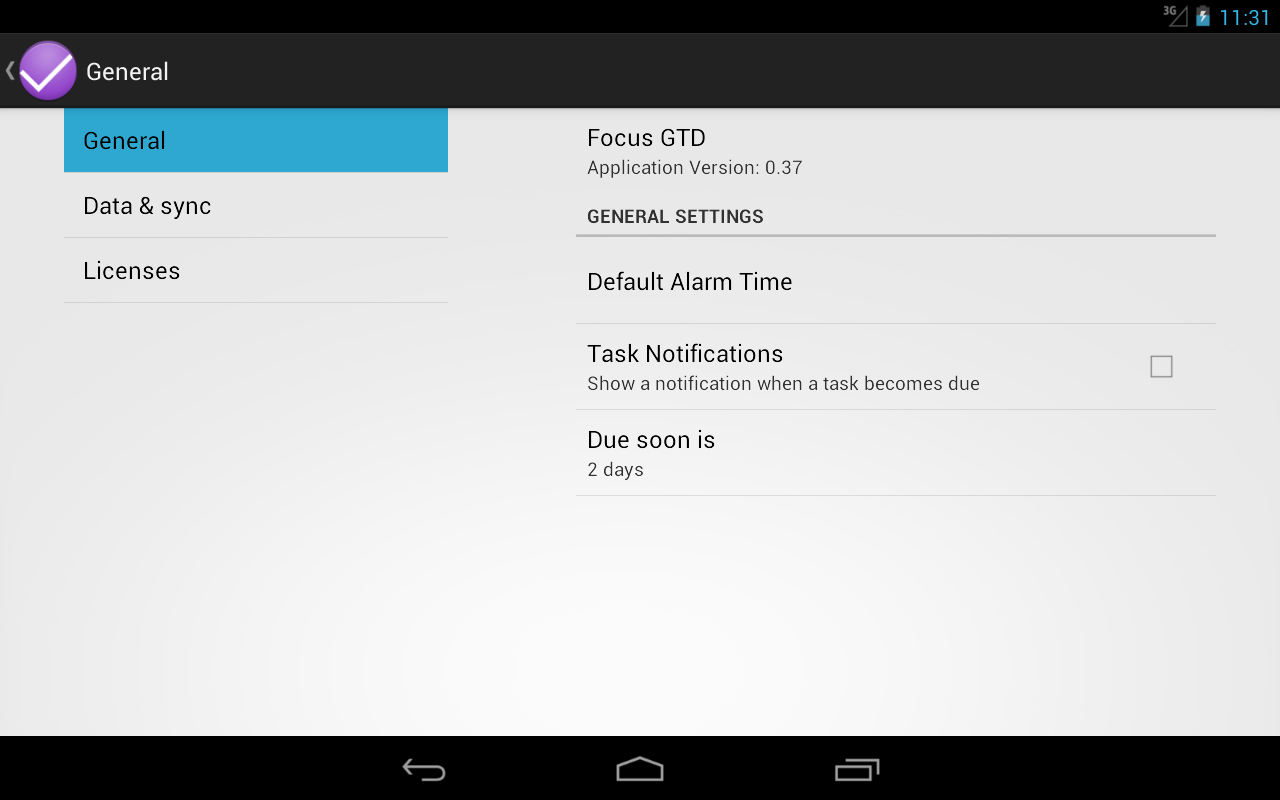 FocusGTD JellyBean Workaround- screenshot