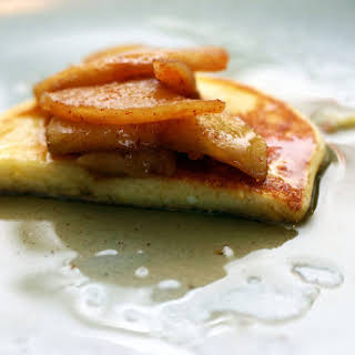 Lemon Ricotta Pancakes with Sauteed Apples.