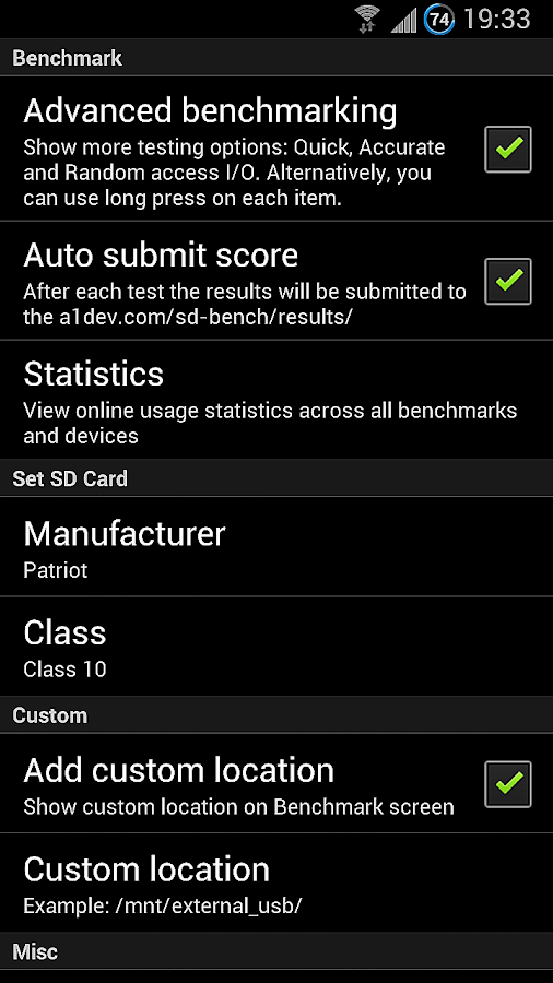 A1 SD Bench- screenshot