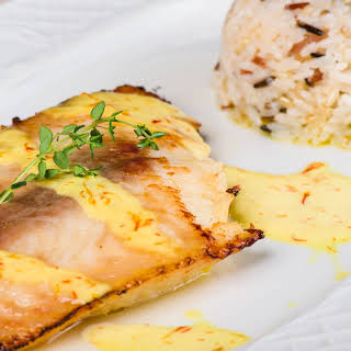 Grilled Halibut with Mustard Sauce.