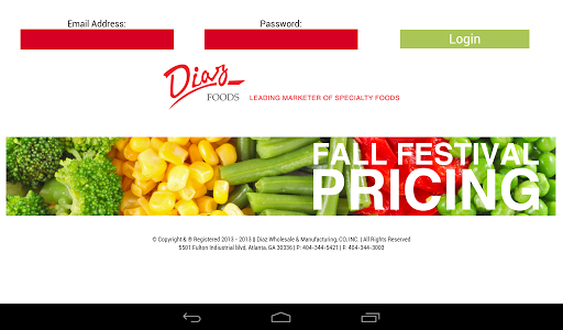 Diaz Foods Fall Festival Price
