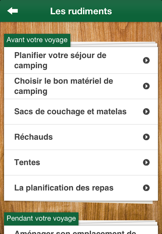 Initiation au camping – Capture d'écran
