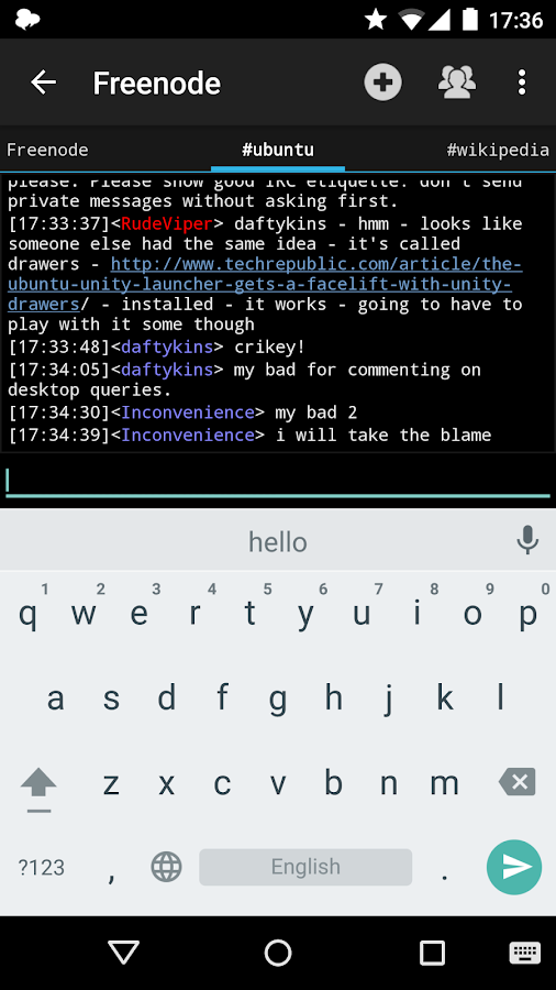 Yaaic - IRC Client- screenshot