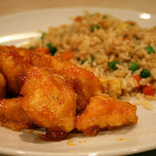 Baked Sweet & Sour Chicken with Fried Rice.