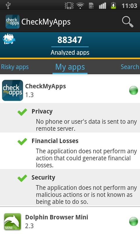 CheckMyApps Mobile Security- screenshot