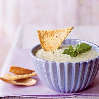 Basil Parmesan Dip with Pita Chips.