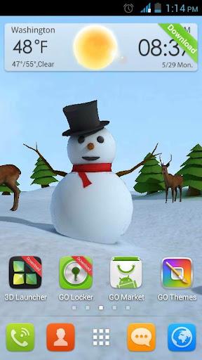 Christmas 3D Snowman LWP HD
