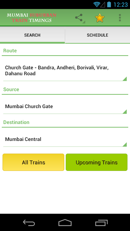 Mumbai Suburban Train Timings - screenshot