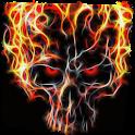 Fiery skull live paper icon