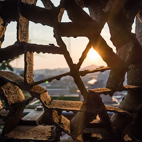Rusty view by Wahan Shahbazian - Buildings & Architecture Architectural Detail ( metal, shadow, sunset, dark, seoul, view, rust, city,  )