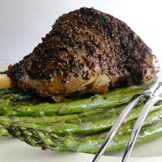 Spiced Slow-roast Lamb With Asparagus.