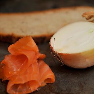 Smoked Salmon Mousse on Rye Toasts.