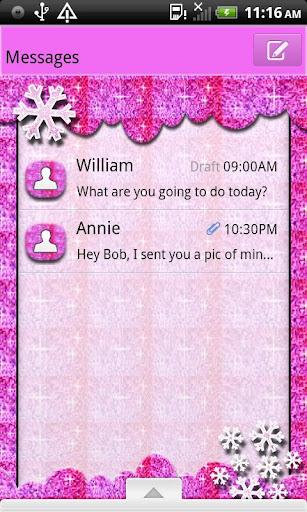 GO SMS THEME GlitterPnkSnwFlk