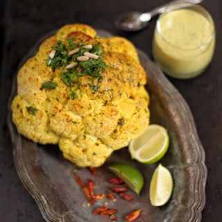 Spicy Whole Roasted Cauliflower with Coconut.