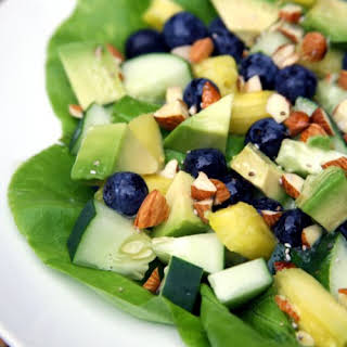 Pineapple Blueberry Salad With Lemon Chia Seed Dressing.